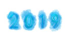 2019 anos novos, figuras do azul pintaram a aquarela em um fundo branco fotografia de stock royalty free