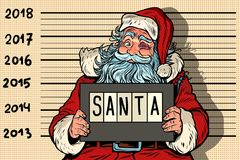 2018 anos novos, foto Santa Claus engraçada sob a apreensão ilustração royalty free