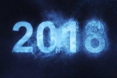 2018 anos novos Fundo abstrato azul do céu noturno Fotografia de Stock