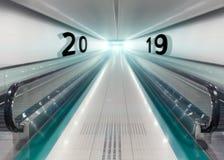 2019 anos novos na estação de metro como o conceito do negócio Imagem de Stock