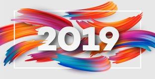 2019 anos novos no fundo de um elemento do projeto do óleo colorido da pincelada ou da pintura acrílica Ilustração do vetor Fotos de Stock