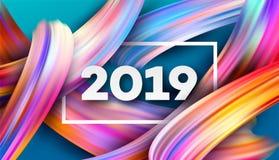 2019 anos novos no fundo de um elemento do projeto do óleo colorido da pincelada ou da pintura acrílica Ilustração do vetor Foto de Stock