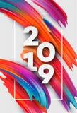2019 anos novos no fundo de um elemento do projeto do óleo colorido da pincelada ou da pintura acrílica Ilustração do vetor Imagens de Stock Royalty Free