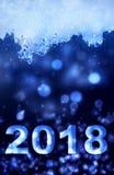 2018 anos novos no gelo e na noite abstrata Fotos de Stock Royalty Free