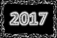 2017 anos novos preto e branco ilustração stock