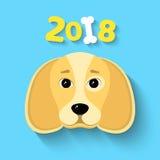 2018 anos O ano do cão amarelo da terra Figuras bonitas em um fundo azul Osso branco A sombra de queda Vetor Illust Fotos de Stock Royalty Free