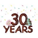 30 anos que comemoram o cartão colorido Foto de Stock