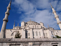 Another angle of Blue Mosque, Istanbul. The exterior of Sultan Ahmet Mosque, featuring six minarets is grand, combination of Islamic and Byzantine church Royalty Free Stock Photos
