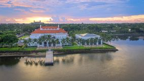 Another angle on The Breakers Hotel and the Flagler Mansion. Dawn at the Breakers Hotel and the Henry Morrison Flagler Mansion and Museum in beautiful Palm Beach stock image