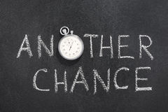 Another chance watch. Another chance phrase handwritten on chalkboard with vintage precise stopwatch used instead of O royalty free stock photography