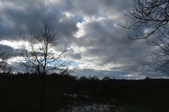 Cloudy winter sky over Holland 2. Another cloudy winter sky over Holland royalty free stock photos