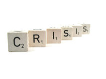 Another crisis. The word crisis spelled out royalty free stock image