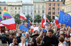 Another day in Cracow  thousands of people protest against violation the constitutional law in Poland. Defense of the triad of division of power, free election Stock Photography