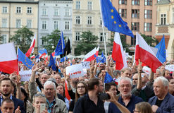 Another day in Cracow  thousands of people protest against violation the constitutional law in Poland. Defense of the triad of division of power, free election Royalty Free Stock Photography
