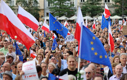 Another day in Cracow  thousands of people protest against violation the constitutional law in Poland. Defense of the triad of division of power, free election Stock Image
