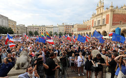 Another day in Cracow  thousands of people protest against violation the constitutional law in Poland. Defense of the triad of division of power, free election Royalty Free Stock Photo