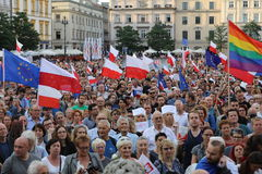 Another day in Cracow  thousands of people protest against violation the constitutional law in Poland. Royalty Free Stock Photo