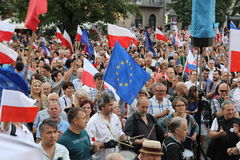 Another day in Cracow  thousands of people protest against violation the constitutional law in Poland. Stock Image