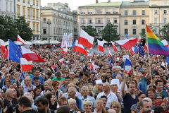 Another day in Cracow  thousands of people protest against violation the constitutional law in Poland. Royalty Free Stock Image