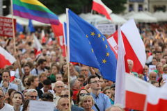 Another day in Cracow  thousands of people protest against violation the constitutional law in Poland. Defense of the triad of division of power, free election Royalty Free Stock Images