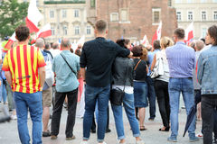 Another day in Cracow  thousands of people protest against violation the constitutional law in Poland. Stock Photo