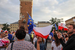 Another day in Cracow  thousands of people protest against violation the constitutional law in Poland. Stock Photography