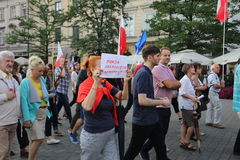 Another day in Cracow  thousands of people protest against violation the constitutional law in Poland. Defense of the triad of division of power, free election Stock Images