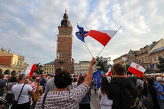 Another day in Cracow  thousands of people protest against violation the constitutional law in Poland. Defense of the triad of division of power, free election Royalty Free Stock Image