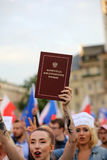 Another day in Cracow  thousands of people protest against violation the constitutional law in Poland. Stock Photos