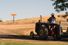 Another day on the farm. A farmer driving his tractor up the road Stock Image