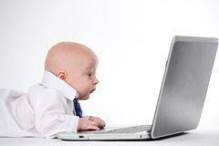 Another Day at the Office. Baby boy working on a laptop Stock Photo