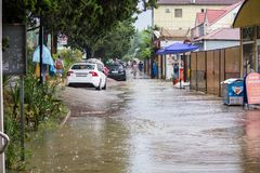 Another flood in Sochi, Adler district 06.07.2018. Another flood in Sochi, Adler district, Lenin street 06.07.2018 stock photography