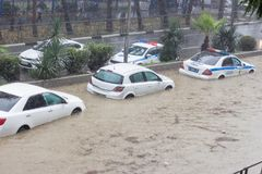 Another flood in Sochi, Adler district 06.07.2018. Another flood in Sochi, Adler district, Lenin street 06.07.2018 Royalty Free Stock Photos