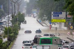 Another flood in Sochi, Adler district 06.07.2018. Another flood in Sochi, Adler district, Lenin street 06.07.2018 stock image