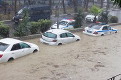 Another flood in Sochi, Adler district 06.07.2018. Another flood in Sochi, Adler district, Lenin street 06.07.2018 stock images