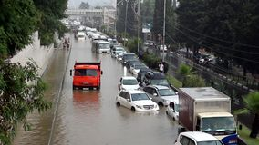 Another flood in Sochi, Adler district 06.07.2018. Another flood in Sochi, Adler district, Lenin street 06.07.2018 stock video