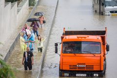 Another flood in Sochi, Adler district 06.07.2018. Another flood in Sochi, Adler district, Lenin street 06.07.2018 royalty free stock photo