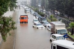 Another flood in Sochi, Adler district 06.07.2018. Another flood in Sochi, Adler district, Lenin street 06.07.2018 royalty free stock images