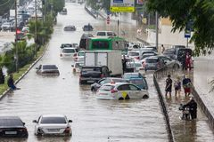 Another flood in Sochi, Adler district 06.07.2018. Another flood in Sochi, Adler district, Lenin street 06.07.2018 royalty free stock photography