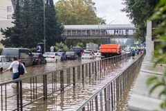 Another flood in Sochi, Adler district 06.07.2018. Another flood in Sochi, Adler district, Lenin street 06.07.2018 stock photo