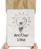 Another idea light bulb with recycle envelope background Stock Photos