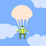 Another parachute. A man has opened his parachute and flies in the sky royalty free stock photos