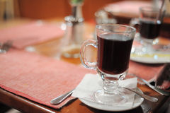 Glass with a mulled wine. Close-up image of glass with a mulled wine Royalty Free Stock Photo