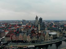Another point of view in Beautiful city of Gent. European Country with great history and kind citizens. Drone photography. Created royalty free stock photography