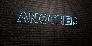 ANOTHER -Realistic Neon Sign on Brick Wall background - 3D rendered royalty free stock image Royalty Free Stock Photo