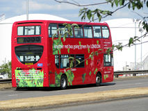 Another red bus going green for London Stock Photo