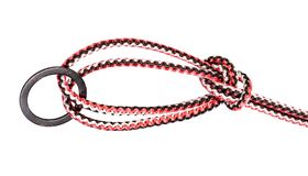 Another side of Bowline on a bight knot on rope. Another side of Bowline on a bight knot tied on synthetic rope cut out on white background stock photography