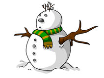 Another snow man. A funny and simple snow man illustration Royalty Free Stock Photos