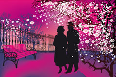 Another Spring. Not very yang love couple walking in park Stock Images