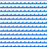 Another strip of sea blue watercolor wave crest pattern seamless Stock Images
